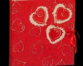 Red hearts photo album red sateen ribbon  batik paper wedding or Valentine Days original gift Fabriano paper scrapbook guest book