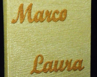 Custom photo album ivory cotton paper golden embossed names wedding original gift bride and groome Valentine Day guest book made in Italy