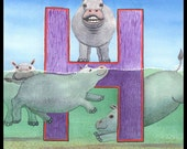 "Happy Hippos, Horses or Hyenas on the ""H"" Spelletoes Alphabet Placards"
