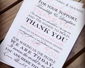 Frameable Wedding Thank You Cards - The Meghan - 8x10 Size - Custom Colors Available