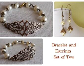 Set of 2 - Bracelet and Earrings, Friendship bracelet, Drop earrings, Bangle, Dangle earrings, charm Bracelet