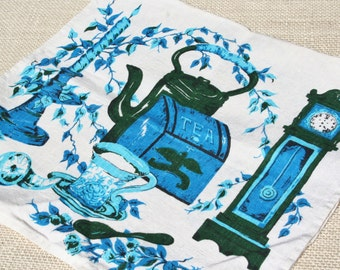 Vintage Tea Towel Linen Towel Turquoise and Green, Teapot, Clock, Candle