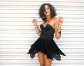 RESERVED // Playa Bunny No. 3 // sexy black bow costume twirl dress