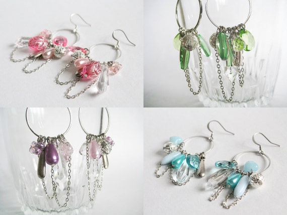 Silver Hoop Dangle with Assorted Beads Earrings (4 colors available)