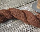 Mahogany Brown Handspun Alpaca Yarn Skein, Knitting, Crochet, Weaving, Fiber Art, Textile, 2 ply Suri 150yds (137m), 2.2-2.3 oz (58g) - aclhandweaver