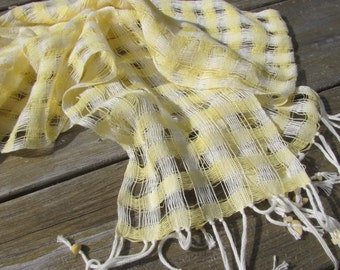 Summer Womens Fashion Scarf, Sunny Lemon Yellow Woven Cotton Scarf, Coastal Beach Seaside Cottage Garden Urban City Golf Fashion Accessory