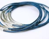 Denim Bangles , Leather Bangles , Blue Bangles , Set of 10 , Stacking Bracelets ,  Bangle Bracelets ,Amy Fine Design