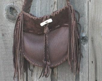 Leather handbag , Handmade brown leather tote ,   Fringed leather purse ,  Crossbody gypsy handbag
