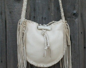 Crossbody leather handbag ,  Designer handbag ,  Fringed leather boho bag Possibles bag