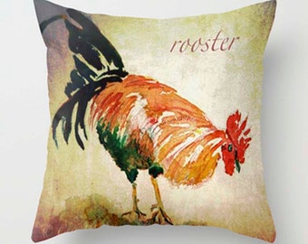 Rooster Fun Watercolor Decorative PILLOW 20x20 - Perfect Kitchen window-seat Art - Home Decor Pillow cover - Spring gift