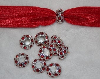 Set of 10 Silver Charms with Red Rhinestones for bracelets or Hair Ties
