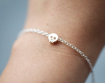 ROSE GOLD skull bracelet, teeny tiny cute Skull charm bracelet on fancy silver chain, dainty skull bracelet