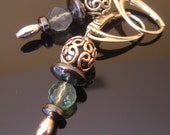 RESERVED for Kristi: Elegant Bali Sterling Silver Fluorite Earrings