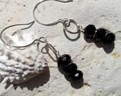 Black Earrings, Rustic Hammered 925 Sterling Silver Earrings, Earrings Sterling Silver Onyx Earrings