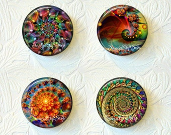Magnets Set of 4 Colorful Abstract Buy 3 Get 1 Free  089-MS