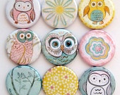 Owl Magnets - Button Magnets - Set of Nine 1.25 Inch Button Magnets Packaged in a Custom Box
