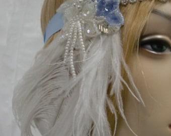Bridal Veil, Bride Headpiece, Wedding Veil, Sky Blue and Silver Bead and Sequin Flapper Headband Bridal Headpiece or Prom Hair Accessory