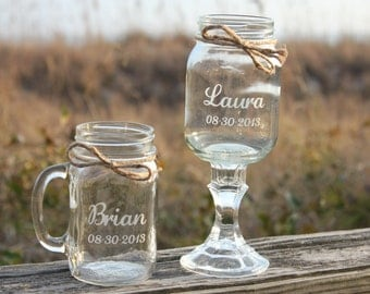 1 Redneck Wine Glass, 1 mason jar mug Set, Personalized Mason jar mugs