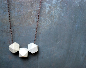 White geometric Wood Necklace - Boho Necklace - Everyday