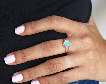 blue opal ring, gold ring, pacific opal ring, rings, opal ring, gemstone ring, thin ring, delicate ring, statement ring,woman ring,tiny ring
