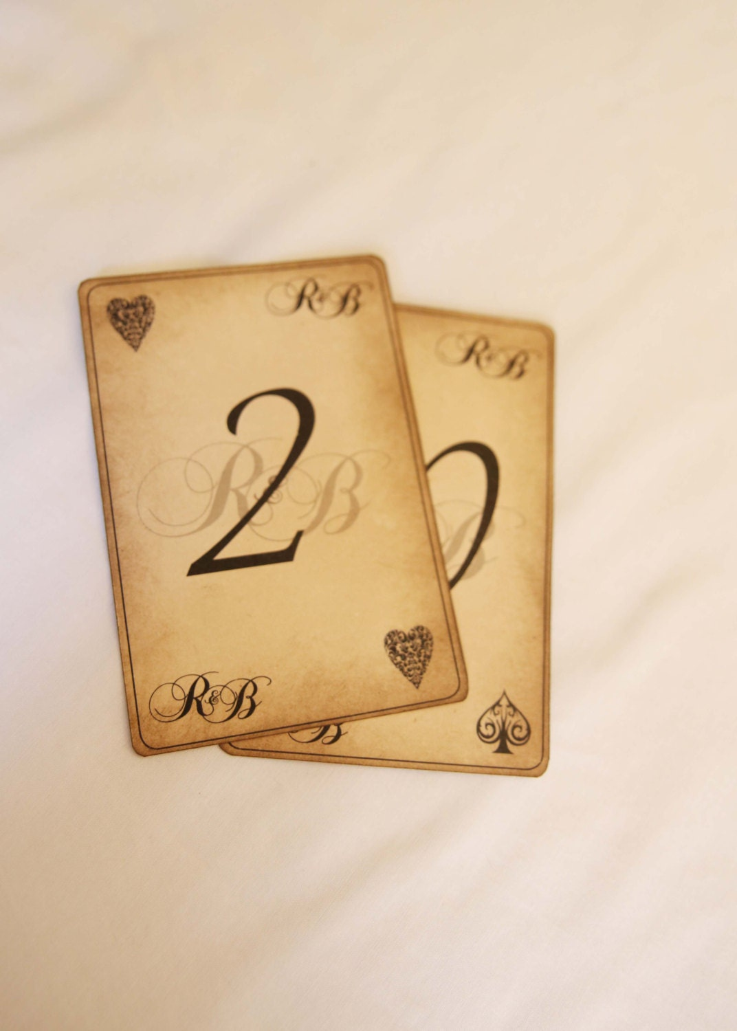 Table Number Playing Card Vintage Antique Alice In