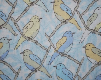 Sale-Victorian Modern Birds in Pastels -- 1.5 Yards Andover Quilting Fabric