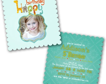 INSTANT DOWNLOAD -  Luxe Birthday Invitation Photoshop Psd Photo Card Template Photographers - Animals- 0558