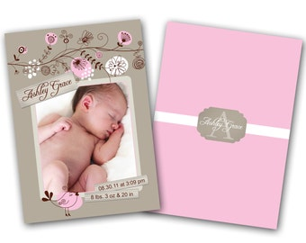 INSTANT DOWNLOAD - Birth announcement photo card template, 5x7 card - 0206