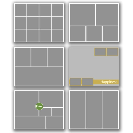 INSTANT DOWNLOAD - Photography 16x20 Storyboard Blog Board Template Collection, Square Corners - set of 6 - 0581