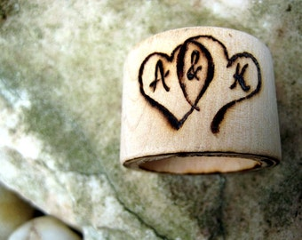 Wedding napkin rings set of 4 -Wood burned hearts -Custom initials