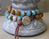 Boho chic knotted bracelet, leather, beaded wrap bracelet  - Earth & Sky - beach jewelry, sundance, aqua sky blue, Bohemian jewelry, jade