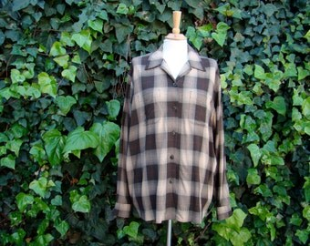 Vintage 80s / Men's / Brown and Tan Plaid / Long Sleeve / Shirt / LARGE