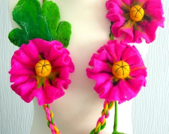 Felted Flower, Hand Felted, Wool Jewelry felted NECKLACE  and BROOSH -Pink  poppy-