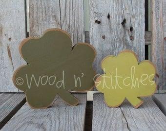 Shamrock Set  St Patrick's Day Wood Sign green wood block set with matching SHAMROCK home seasonal spring irish gift decor march