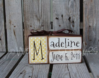 Personalize Baby Block Set or Wedding Block Set  . . . personalized primitive country blocks wedding baby birthday gift home decor