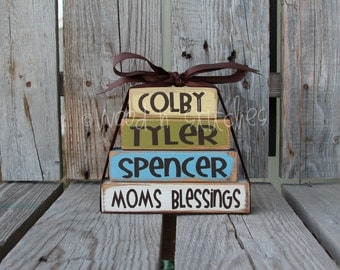 Father Grandpa Papa Mom Grandma Mimi Nana Blessings Wood BLock Set Christmas gift home decor personalized Mother's Day names sign
