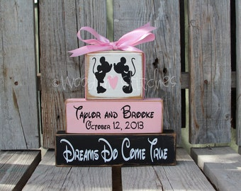 Mickey Mouse DISNEY Wedding Family Happily Ever After Name Personalized wood block set christmas reception shower anniversary gift decor