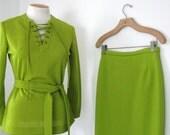 Vintage Mod 70's 3 Piece Chartreuse Lime Green Suit By Loubella Skirt Inc. Lace up Blouse Pencil Skirt Pants Boho