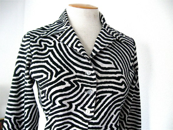 Reserved for Martha Vintage Mod 70's Groovy Black and White Zebra Print Blouse