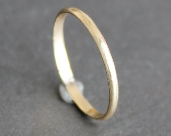 14K Solid Gold Ring - 1.5mm Simple Half Round Band - Classic Wedding Band (Size 2 - 10)