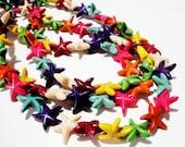 Starfish Beads - Star Howlite  Beads - Multicolored Gemstone - 13mm - Star Nautical - Under The Sea - DIY Craft Supplies - Jewelry Making