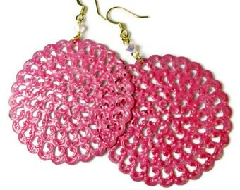 Lacy Hot Pink Earrings, Statement, Filigree Earrings, Disc Earrings, Lightweight Dangle Earrings