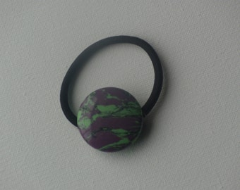Purple & green large round stone bead, ponytail holder
