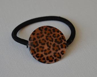 Brown leopard print shell bead ponytail holder