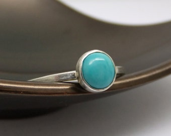 6mm Turquoise Ring - Sterling Silver - December Birthstone