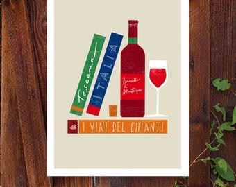 "Italian Wine Art - I vini d'Italia print - Chianti Tuscany travel books gourmet Illustration 11""x15 - archival fine art giclée print"