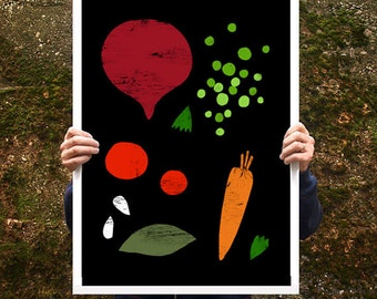 "Good Food 2 Kitchen Poster print  20""x27"" - archival fine art giclée print"