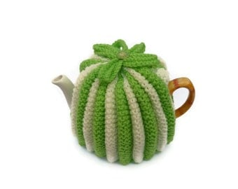 tea pot  cozy cosie lime green and cream wool  small pot