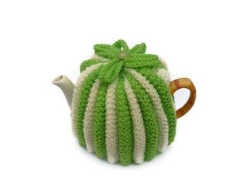 tea pot  cozy cosie lime green and cream wool  medium pot uk seller
