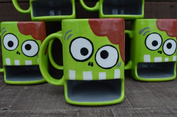 Nom Nom Nom BRAINS - Whimsical Zombie Ceramic Cookies and Milk Dunk Mug - Lime Green - Ready to Ship